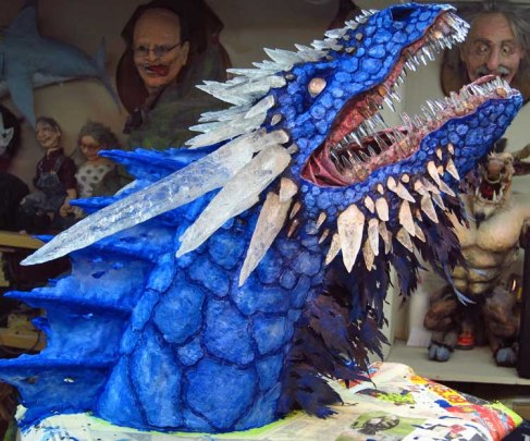 Paper Mache Ice dragon-first paint