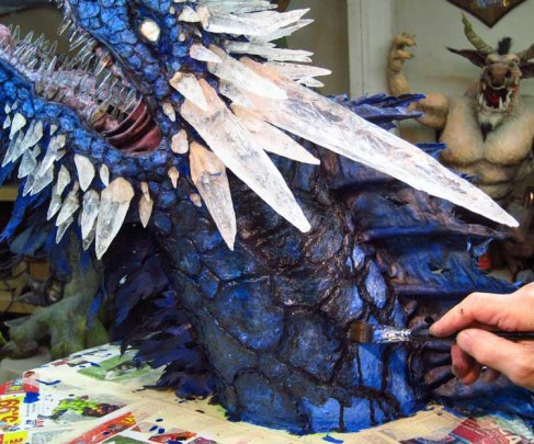 Paper Mache Ice dragon-blackwash