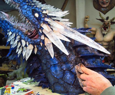 Paper Mache Ice dragon- wipe off black paint