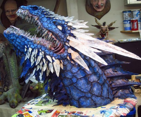 Paper Mache Ice dragon- finished paint